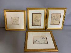 A group of four prints (33cm x 29cm) (15cm x 12cm).