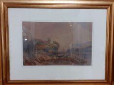 "Thomas Miles Richardson Jnr (1813-1890), ""Fishermen on a lake with a hilltop castle beyond"","