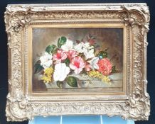 """A 19th century Continental School, 'Still life', label verso: """"Flowers/Law/Dover Cottage/Putney"""","""