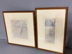 Two cloth framed prints (23cm x 25cm) (frame 44cm x 46cm)