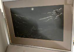 A moonlight seascape, framed and glazed, (46cm x 28cm).