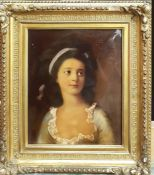 A 19th century English underglass print, 'Portrait of a lady with ribbon', within an original