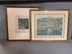 A pair of prints depicting garden scenes (57cm x 46cm).