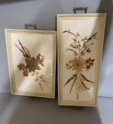 Two trays with press flowers (50cm x 35cm)(60cm x 27cm)