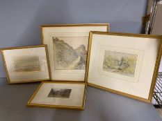 A group of four English watercolours, framed and glazed,