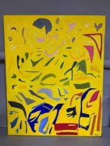 A 20th century English school, 'Composition', probably by 'MPC', acrylic on canvas, unframed, (