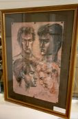 Margaret J. Robinson (1920–2016) English, 'Head studies', signed and dated 1982, mixed media, framed