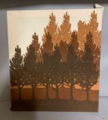 An American school, 'Forest', fabric print over frame (59cm x 52cm).