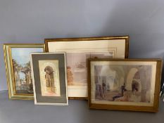 A selection of prints, comprising Russell Flints and Roberts, framed and glazed, (33cm x 23cm) (