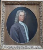 An English School, 'Portrait of a 18th century gentleman bust-length, wearing a grey coat with white