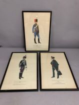 A group of three military prints, framed and glazed (36cm x 23cm).
