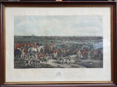 """A 19th century hand-colored engraving """"The Meeting of Her Majesty's Stag Hounds on Ascot Heath"""","""