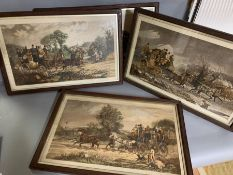A set of four prints depicting coaching scenes following Henry Thomas Alken, (60x36 cm)