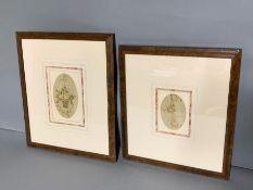 Two floral bouquets, embrodery silks, framed (16cm x 10cm) (Frame 34cm x 40cm)
