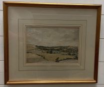 Robert Hills OWS (1769-1844) watercolour 'Brading Church and Village' Reverse frame shows pencil