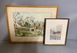 """A pair of landscapes, """"Hart church"""" and """"Voltiguer cottage in foreground""""(label verso), illegibly"""