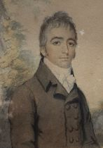 A 19th century British School, 'Portrait of an early 19th century gentleman', watercolour on