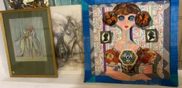 Margaret J. Robinson (1920–2016) English, three mixed media, one adding needlework, signed, framed