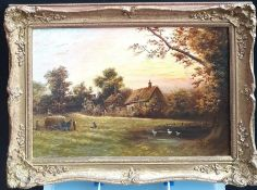 Attributed to Ferdinand Thomas (1858-?), 'Sunset in the farm', signed lower right, oil on canvas,
