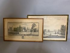 A pair of prints from historical places, framed and glazed,
