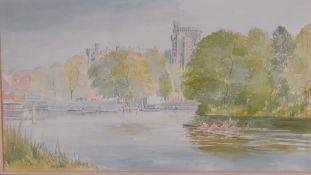 John Grove, 'A view of Windsor Castle from the River Thames', signed, watercolour, framed and