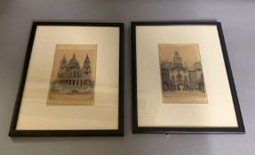 """A pair of etchings, """"St. Paul"""" and """"The horse guards"""", illegibly signed, framed and glazed, (11cm"""