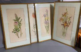 four flower prints (55cm x 25cm)