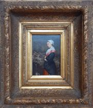 A 19th century English School, 'Maid at a Fountain', oil on panel, within a remarcable gilded frame,