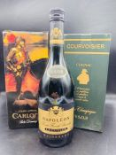 A Bottle of Pedro Domecq, A Bottle of Napoleon brandy and a bottle of Courvoisier