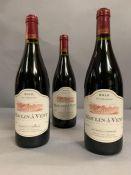 Three Bottles of 2010 Moulin A Vent Vin De Bourgogne