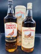 Three bottles of Famous Grouse Whisky