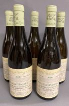 Five Bottles of 2000 Chassagne Montrachet 1er Cru Les Chenevottes white burgundy wine