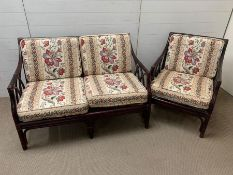 A bamboo/rattan style sofa and chair suite
