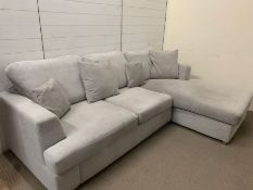 A Freya silver four seater reversible end L-shaped sofa (H89cm W253 D99cm and D168cm)