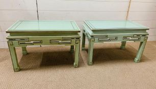 A pair of side tables with oriental theme (H40cm W60cm D38cm)