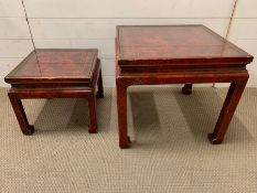 Two red oriental style square side tables (Largest H4+cm Sq50cm Smallest H34cm Sq37cm)