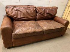 A three seater leather sofa