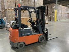 Toyota 2,500 lb. Cap. Model 7FGCU15 LP Riding Fork Lift Truck, S/N: 69817; with 3-Stage Mast, Side