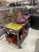 Lot - (2) Portable Grease Pump Carts; with (5) Handheld Grease Pumps