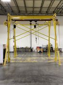 5,000 lb. Cap. Floor Mounted Gantry Crane; with (2) Jet 2-Ton Electric Chain Hoists, 15 ft. x 8