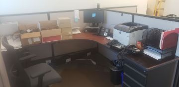 Lot - Contents of Cubicles, to Include: Printer, Phones, Chargers (Cubicles Not Included) - (Located