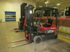 """4,775 lb. Raymond, Model 4460C35, 3-Stage Electric Riding 3-Wheel Forklift, 188"""" Reach Height (S/"""