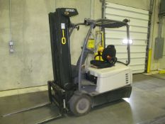 """4,000 lb. Crown, Model SC4540-40, 3-Stage Electric Riding 3-Wheel Forklift, 190"""" Reach Height with"""