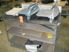 Lot - Portable Steel Cart; with (1) Ability Plastics 14 in. (approx.) Bench-Top Manual Guillotine