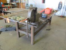 """5' x 10' x 3/4"""" Steel Welding Table with 6"""" Bench Vise"""