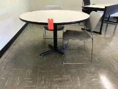 Lot - (5) 48 in. Diameter Circular Tables (7) Chairs (Room 304)