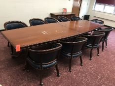 Lot - (1) 12 ft. Conference Table (10) Leather Chairs (Room 310)