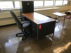 Lot - (1) 60 in. Desk, (1) File Cabinet, (1) Rolling Office Chair (1) 60 in. Table, (2) Chairs (1)