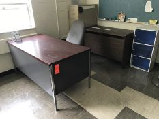 Lot - (1) 60 in. Desk, (1) File Cabinet, (1) 49 in. Rolling Desk (1) 16 in. Cabinet (1) Rolling
