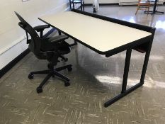 Lot - (4) 30 in. x 72 in. x 32 in. Desks (6) Misc. Chairs (1) Rolling Office Chair (Room 304)